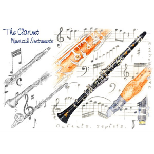 Greeting Card Clarinets & Music Notes