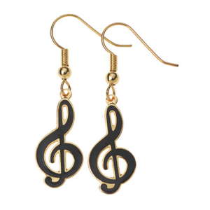 Earrings Treble Clef Black or White