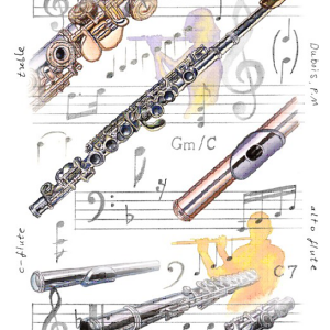 Greeting Card Flutes & Music Notes