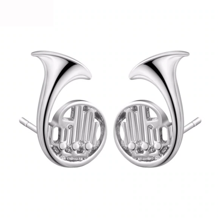 French Horn Ear Studs Silver or Gold