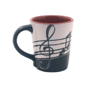 Latte Mug with Treble Stave Music Notes