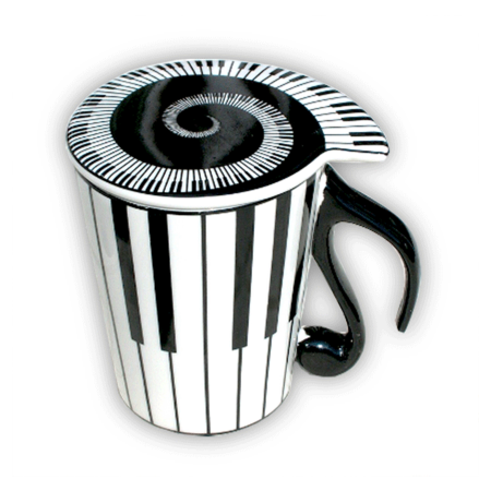 Mug with Lid Keyboard Pattern Quaver Handle