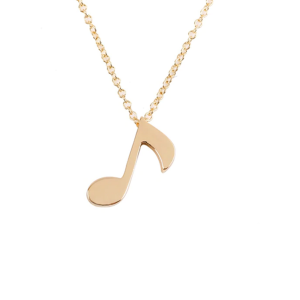 Quaver Note Necklace Pendant Silver or Gold