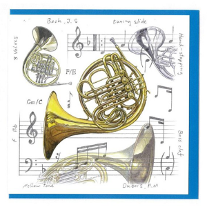 Greeting Card Square - French Horn