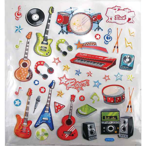 Groovy Colourful Rock Instrument Stickers