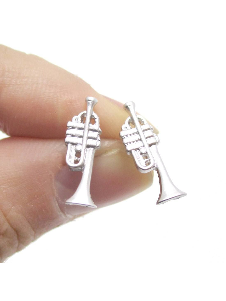 Trumpet Ear Studs Silver or Gold