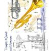 Greeting Card Trumpet Cornet & Music Notes