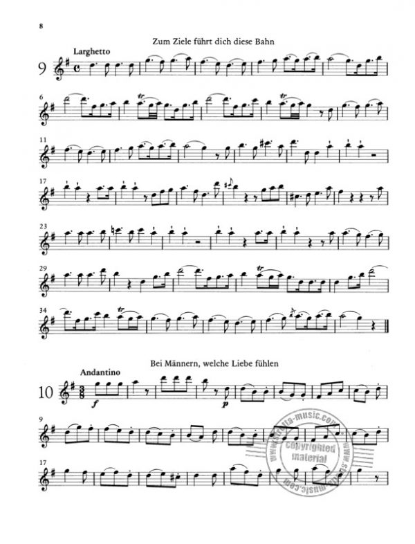 Mozart 12 Easy Duets from the Magic Flute for 2 Flutes Sample 3